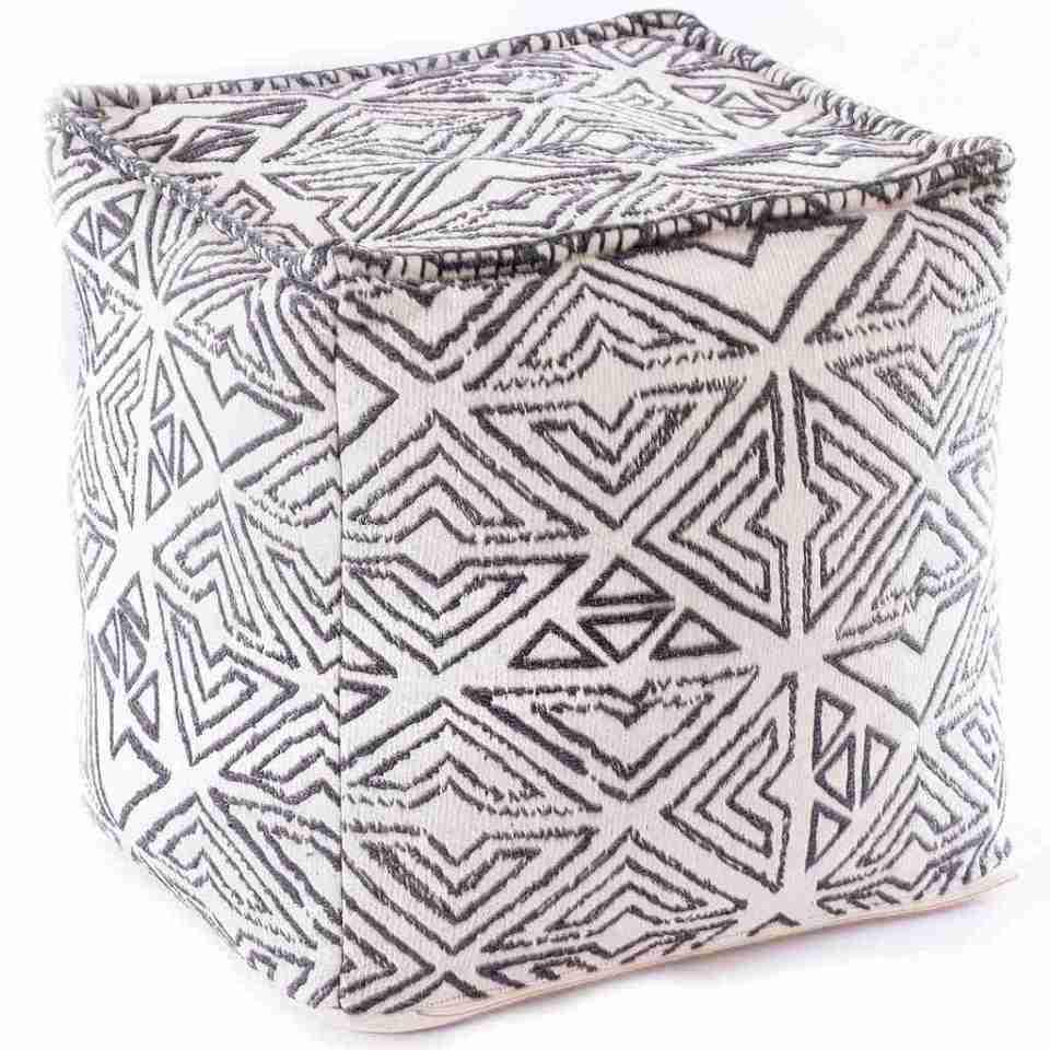 Tribal Pouf Ottoman Cube Floor Cushion Decor Black and White 6