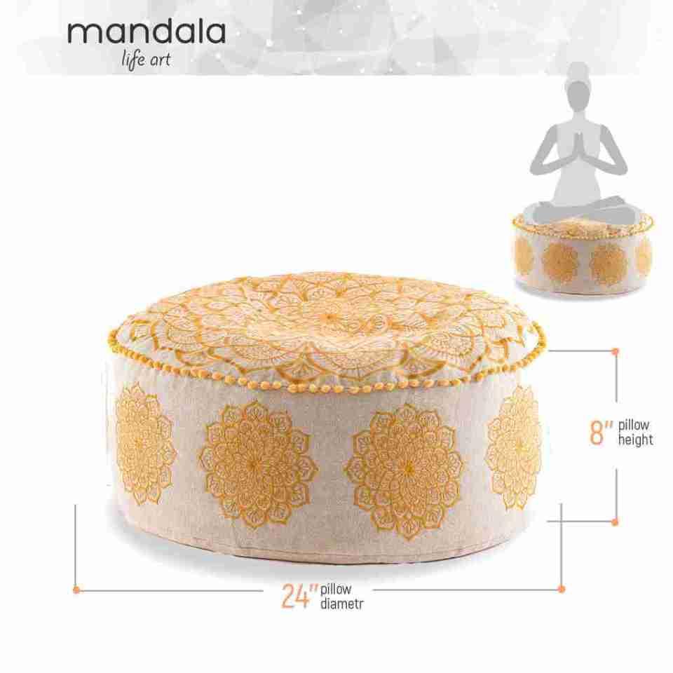 gold mandala pouf 2