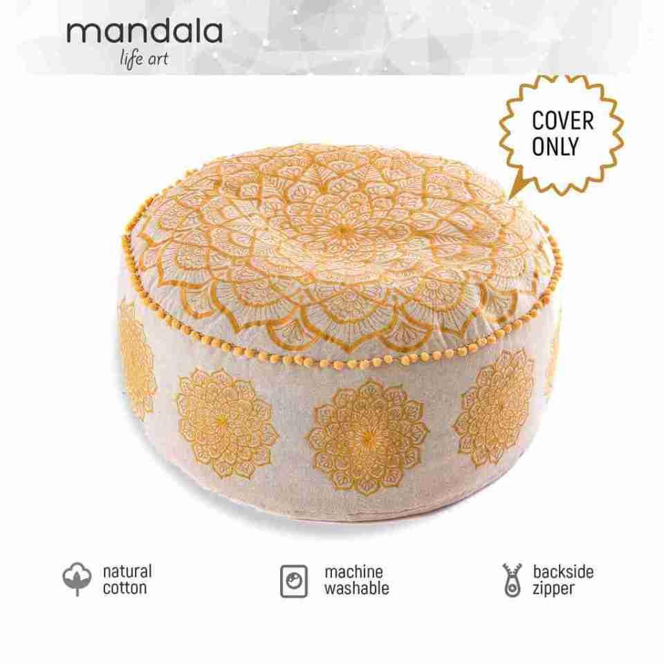 gold mandala pouf 3