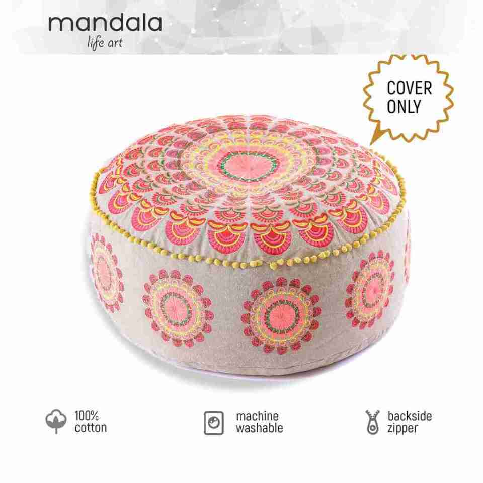 red boho chic round floor cushion 3