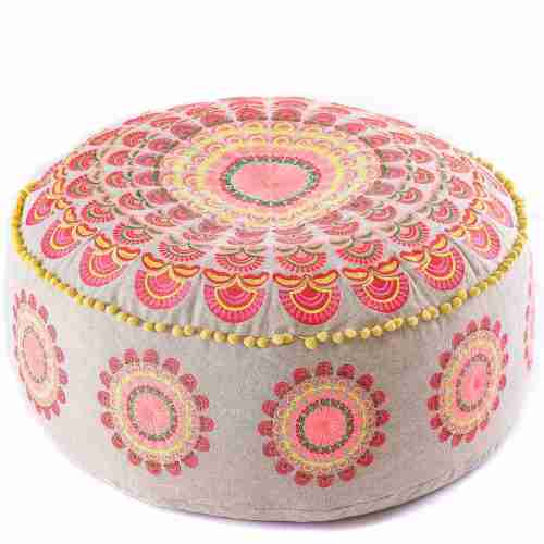 red boho chic round floor cushion 5