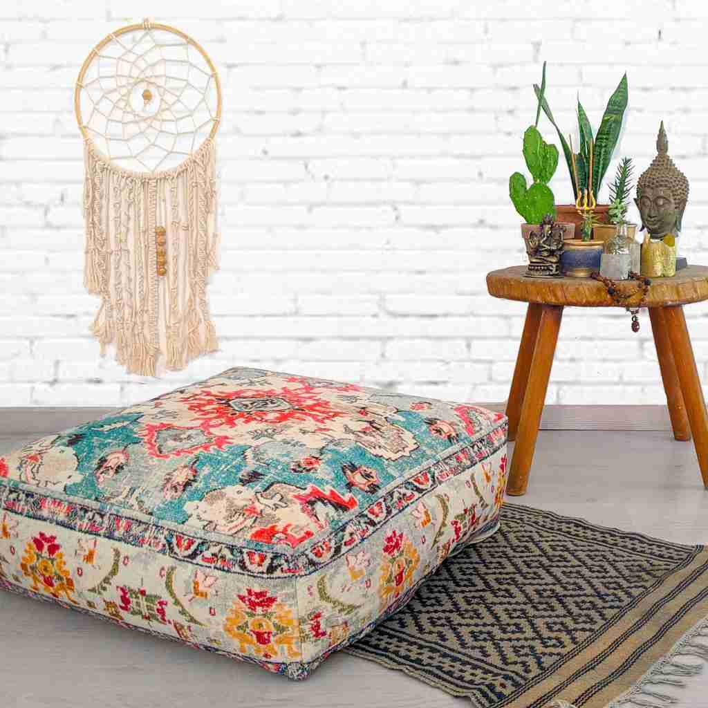 Floor Cushion Cover Square Yellow Mandala Life Art