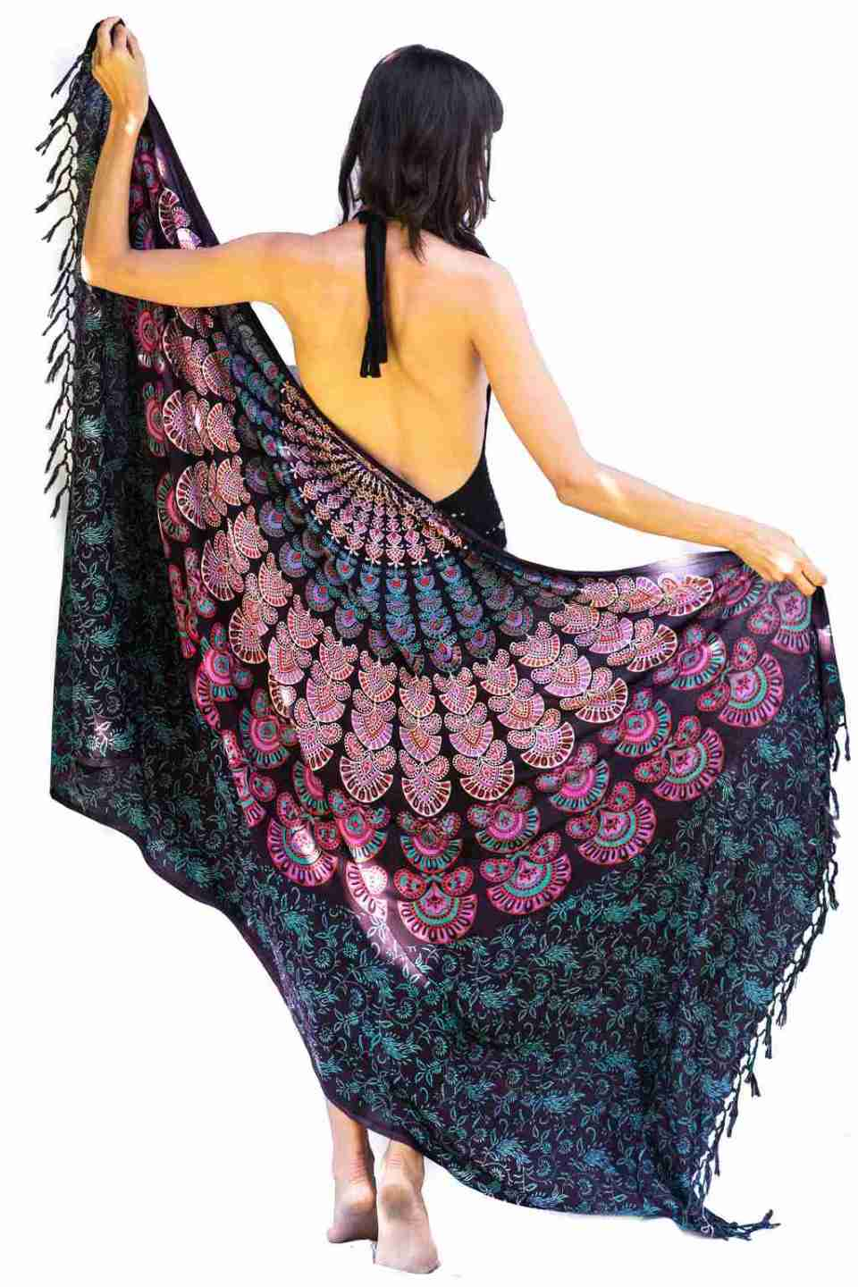 Bohemian Woman Beach Pareo Mandala Sarong Wrap Bikini Cover Up Tapestry Wall Hanging 8