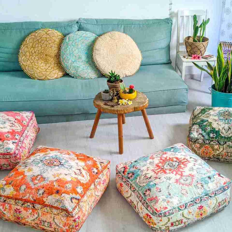 Orange Vintage Floor Cushion 1