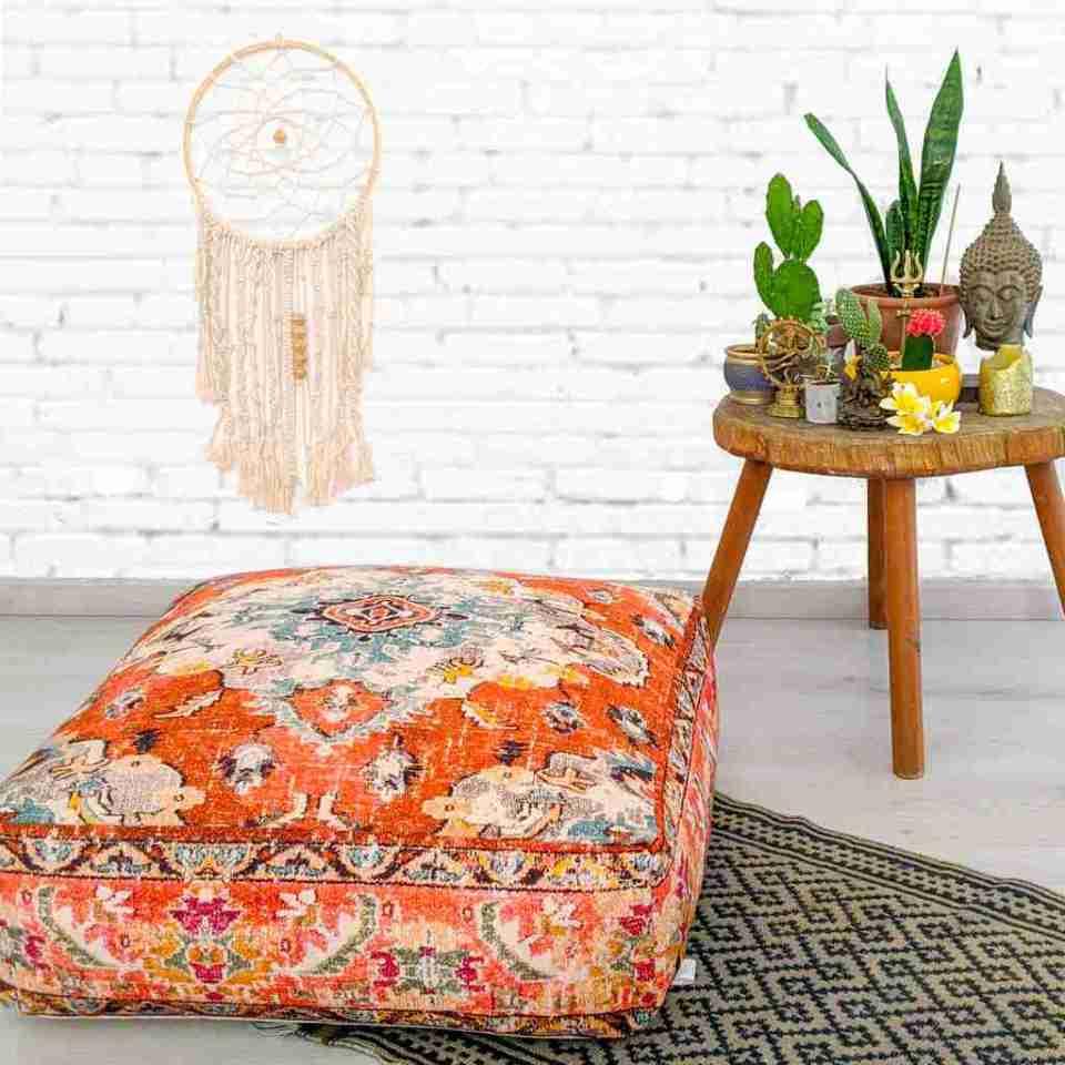 Orange Vintage Floor Cushion 3