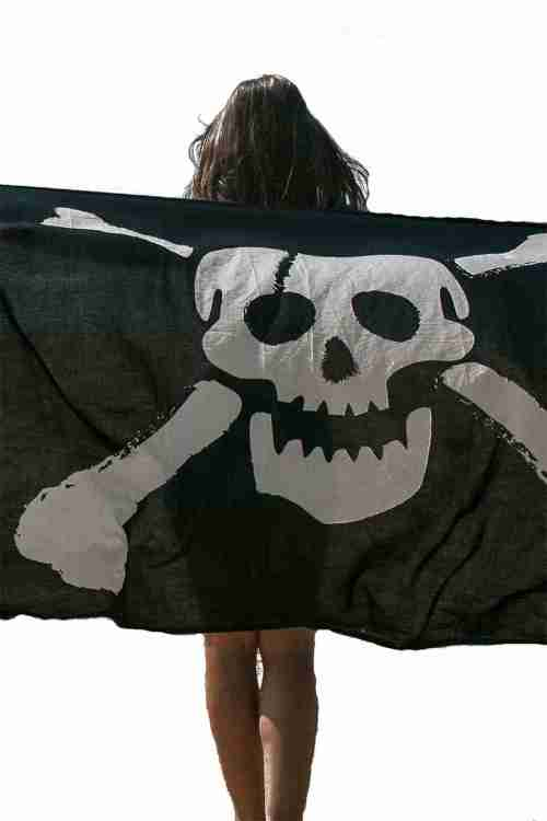 SKULL BLACK PAREO SARONG BEACH THROW FOR MEN 2