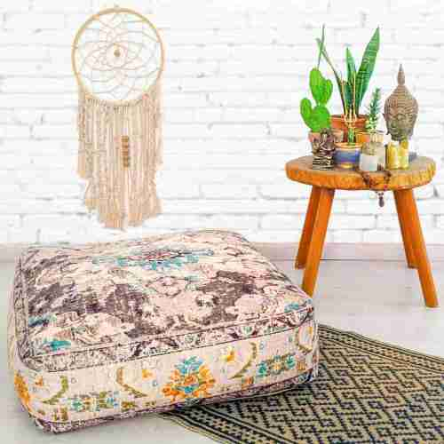 Vintage Pouf Floor Cushion Rug Carpet 19