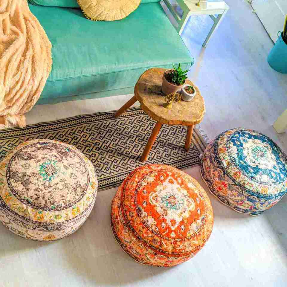 Vintage Pouf Floor Cushion Rug Carpet 3