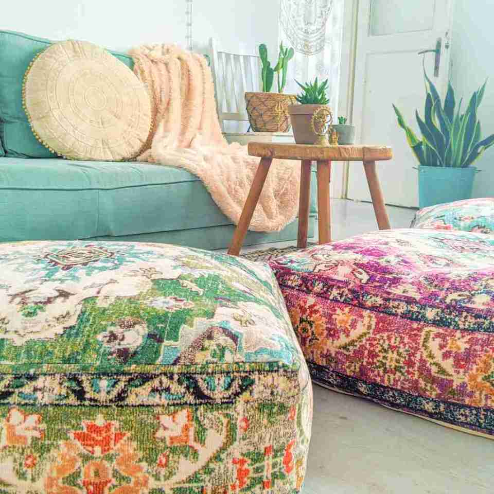 Vintage Pouf Floor Cushion Rug Carpet 8
