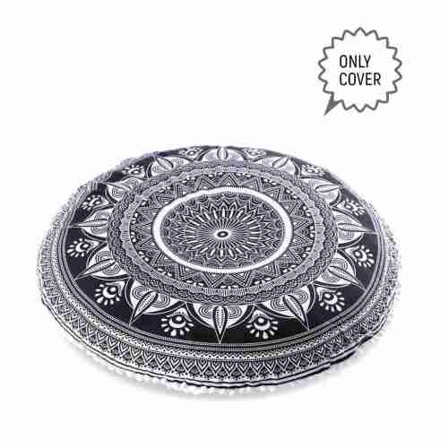 black and white mandala floor pillow 2