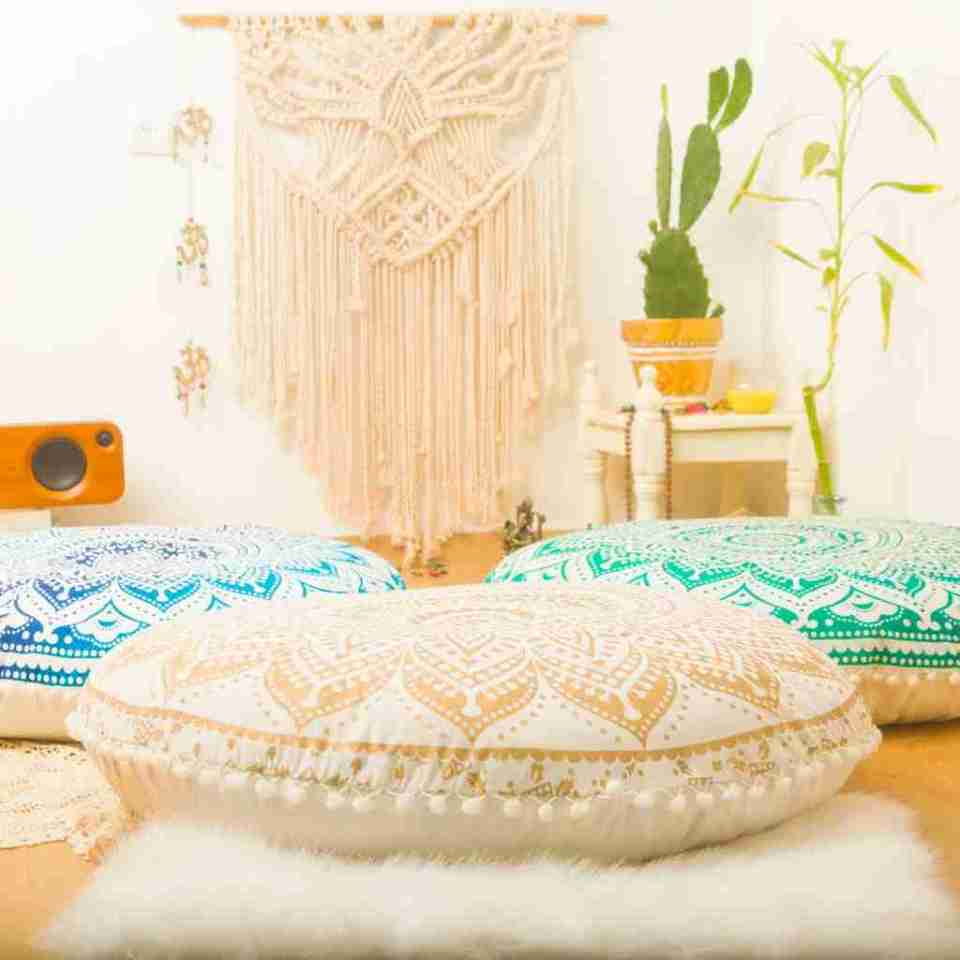 bohemian floor pillow mandala round cushion pouf 9