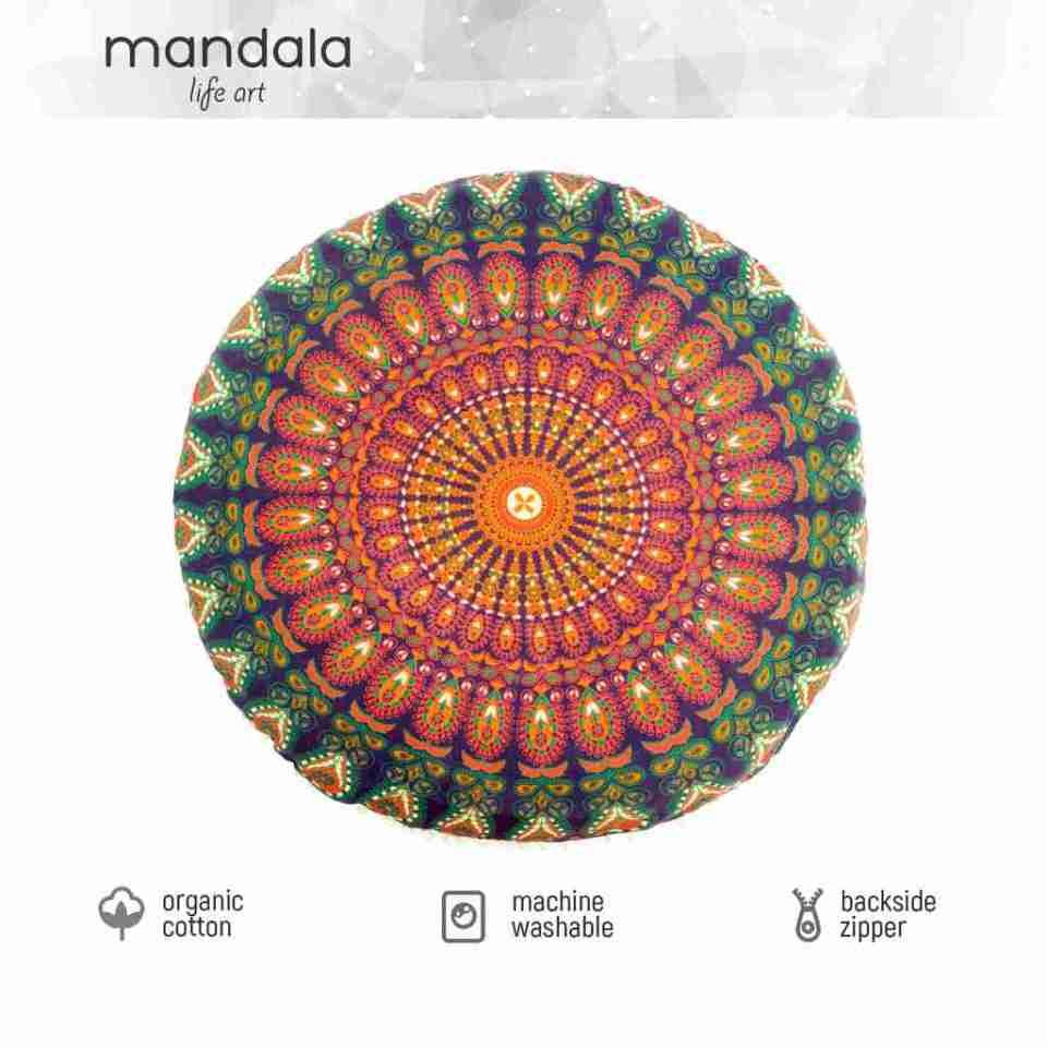 orange peacock mandala floor pillow 1