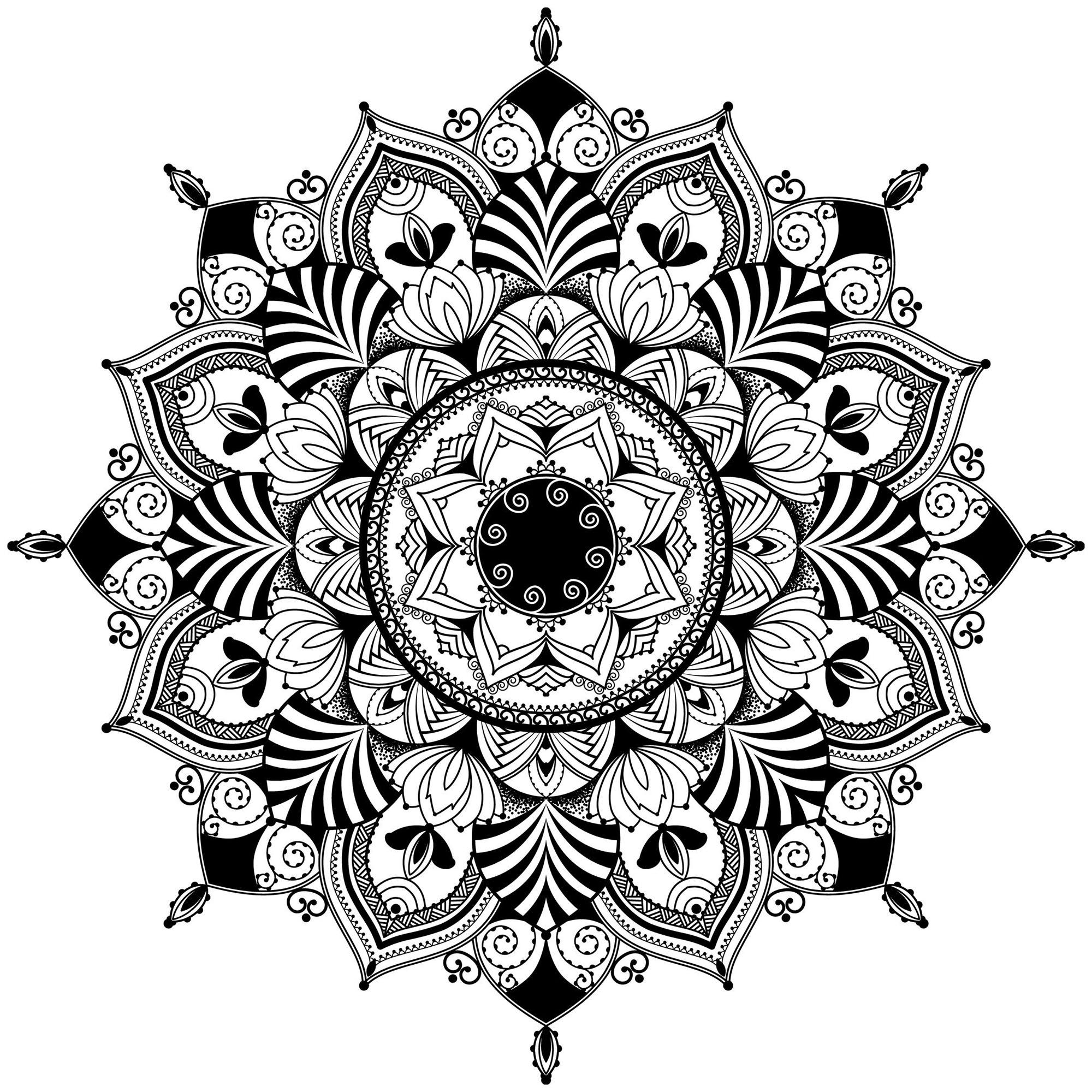 mandala zentangle noir blanc