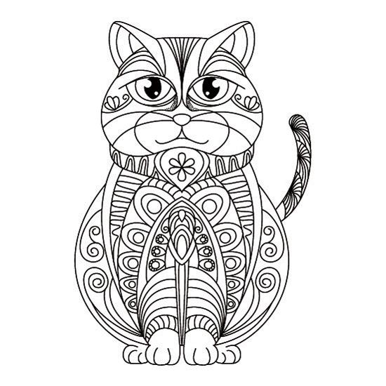 → Gato Mandalas para Imprimir y Colorear en PDF y JPG