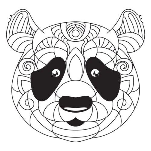mandalas de animales para colorear - oso panda