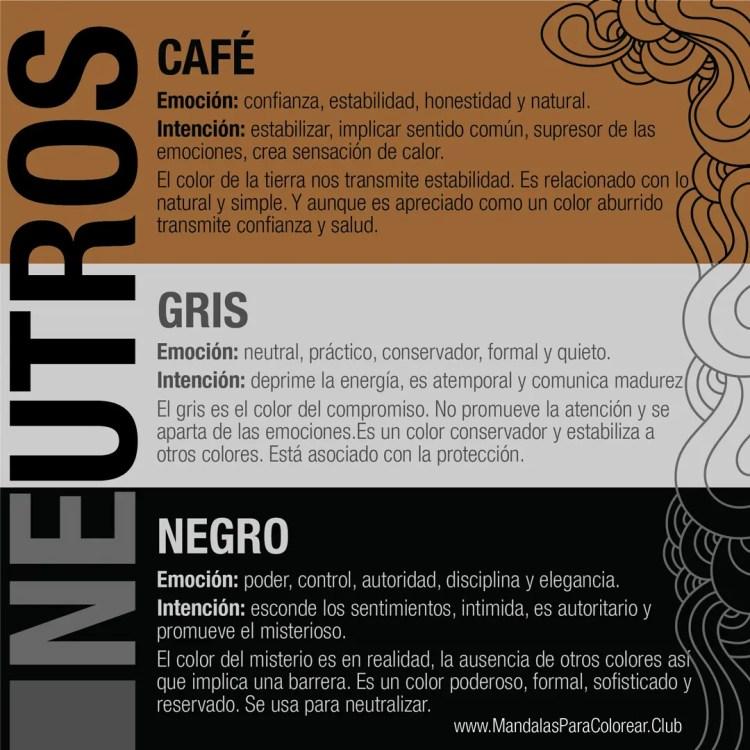Significado de los Colores para Colorear Mandalas - Café, Gris y Negro