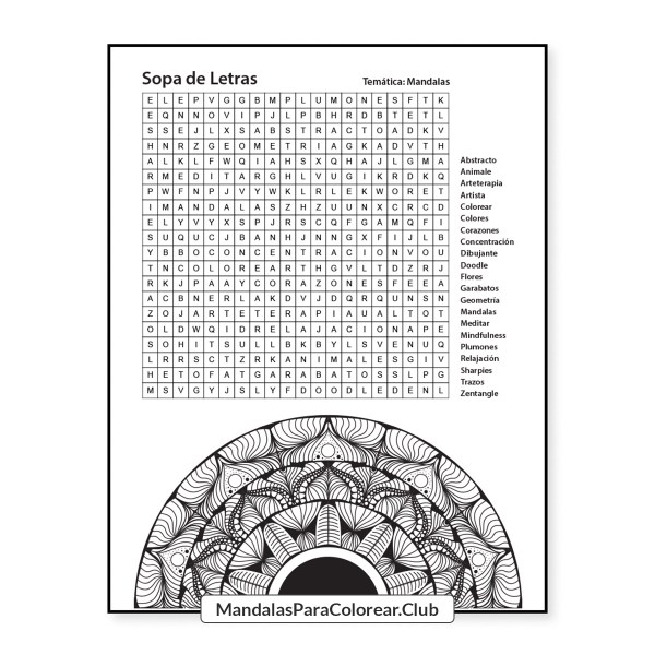 Sopa de Letras para Imprimir PDF - Mandalas