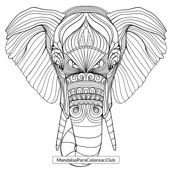 Mandala Elefante Zentangle Para Colorear