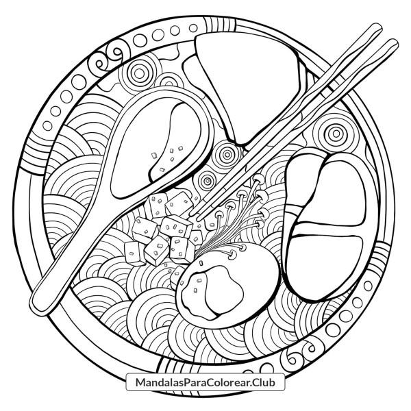 Mandala Ramen Zentangle Para Colorear
