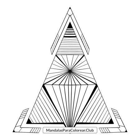 Mandala Triángulo Geométrico para Colorear