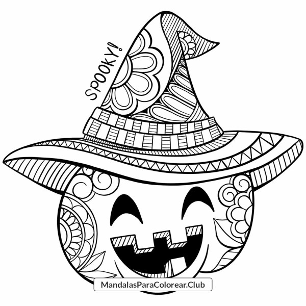 Mandala Halloween de Calabaza Zentangle