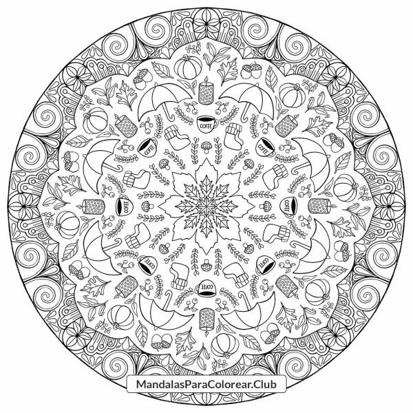 Mandala de Elementos de Decoración de Otoño