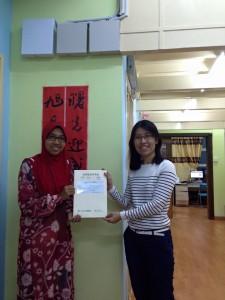 20 Aug 2015 - Congratulations to Aiwan Aeshah!