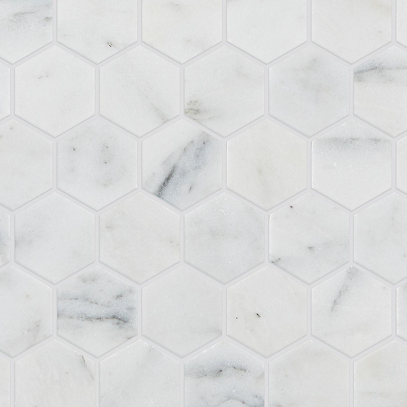 calacatta vein honed marble hexagon mosaic tiles mandarin stone