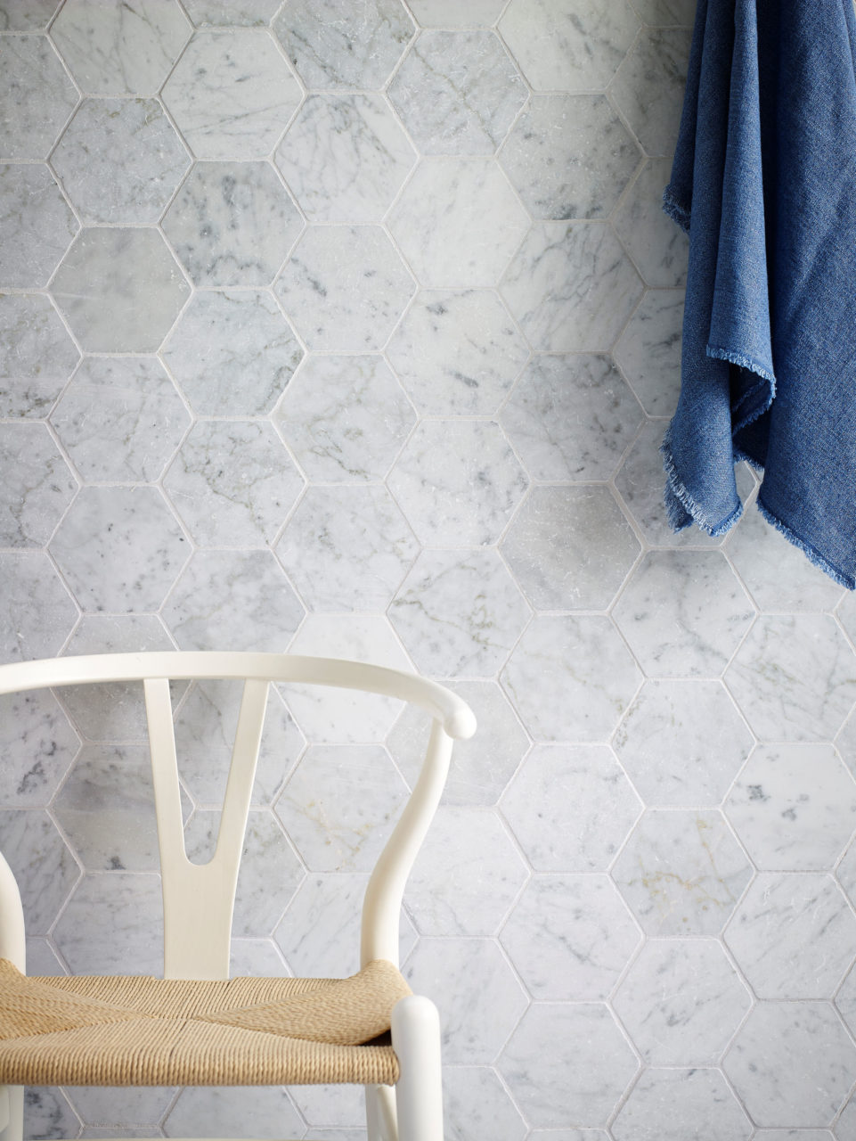 carrara tumbled marble hexagon