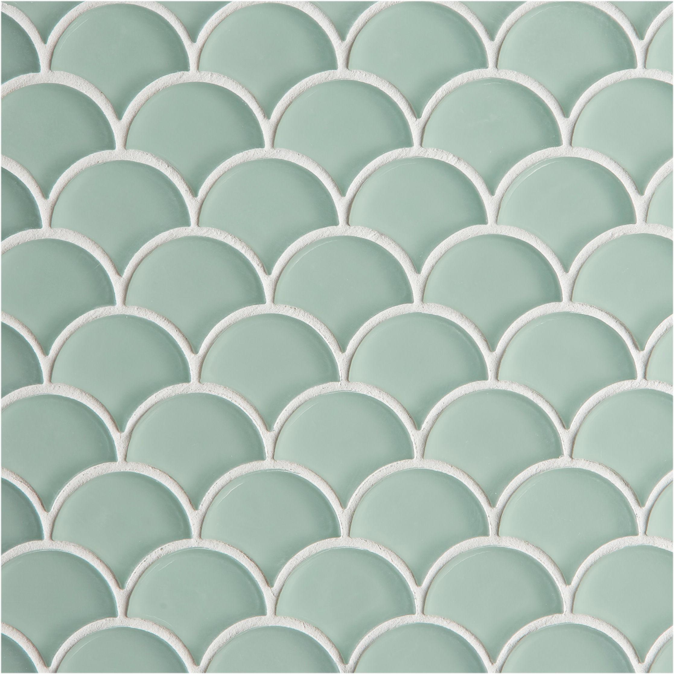 glacier green glass scallop mosaic tiles mandarin stone