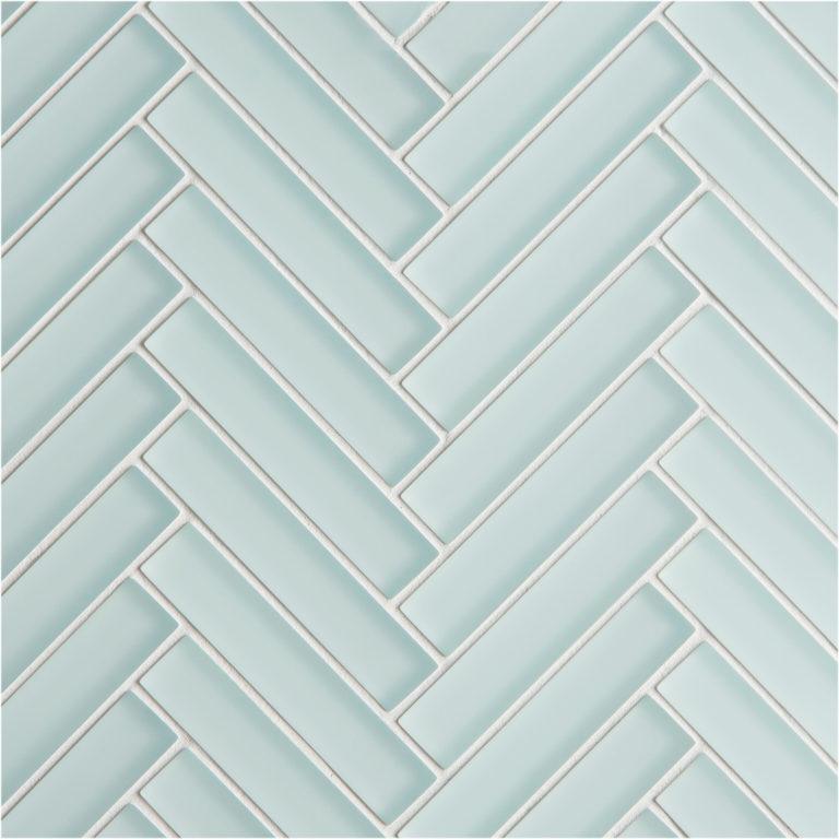 glacier light green glass herringbone mosaic