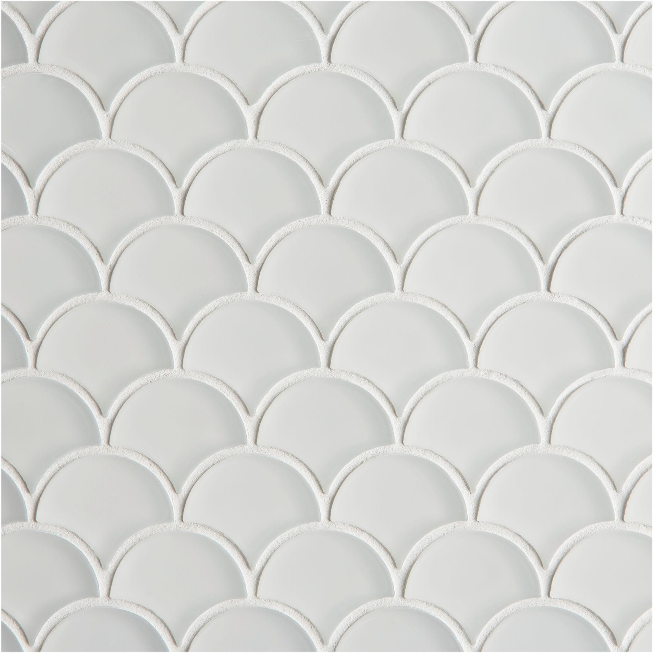 glacier white glass scallop mosaic tiles mandarin stone