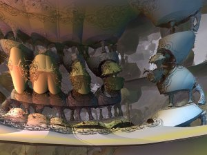 """3D fractal art example: rotated Mandelbox hybrid. """"Untitled (approximately six friendly / unfriendly animals near each other forever)"""" Matthew Haggett CC-BY-NC-SA 2013."""