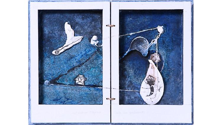Gabriella Benedini, Nel cielo di Pitagora vola un gabbiano, Tecnica mista su tavola, 42x31,5, 2011 -1700 corretto