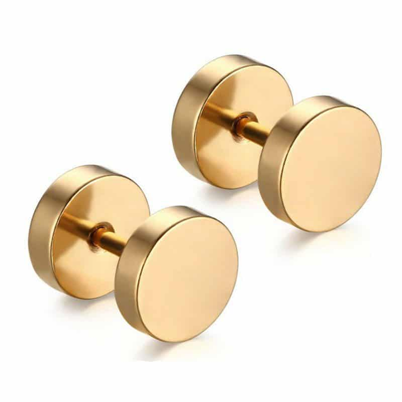 316l Stainless Steel Gold 8mm Reversible Screw Back