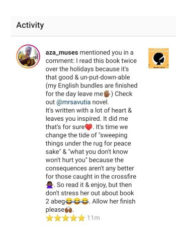 Anathi a Lifeless womb book review, mandisa avutia, black south african woman author,Instagram review