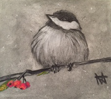 """Bird on a branch, """"Chalky"""""""