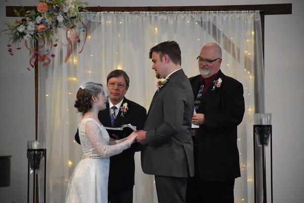 wedding vows, redesigned antique wedding gown