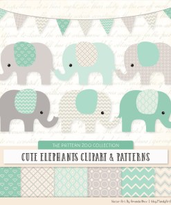 Mint Patterned Elephant Clipart & Patterns