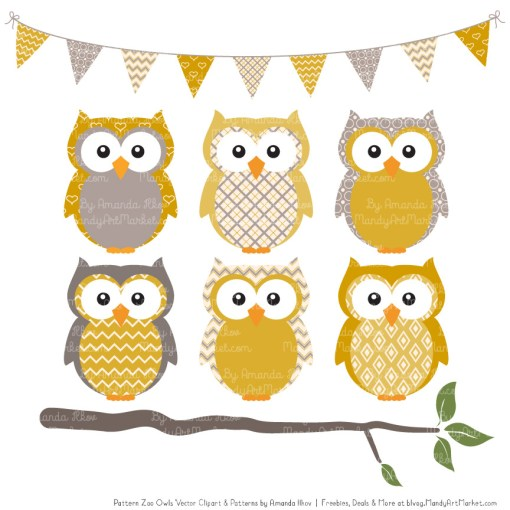 Pattern Zoo Mustard Patterned Owl Clipart & Patterns