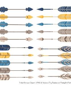 Navy & Lemon Tribal Arrows Clipart