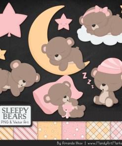 Soft Pink Sleepy Bears Clipart & Paper Vectors