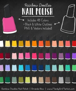 Rainbow Nail Polish Clipart