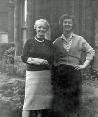 My gran and mam in the garden of Oxford Terrace, Gateshead, circa 1961