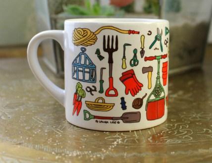 Vintage Gardening Tools Mug. Picture; Laura Lee Designs