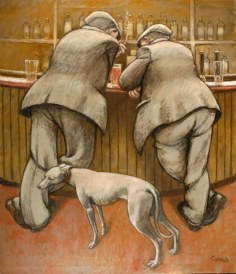 Two Men at a Bar with Dog by Norman Cornish. Picture; Beamish Museum