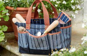 Sophie Conran ticking stripe bag. Picture; Burgon & Ball