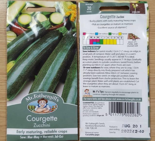 Courgette Zucchini Batch I. Picture;  Mr Fothergill's