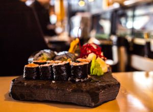 A sushi platter on a rock at Kuma Yama Sushi at the Lake Louise ski resort.