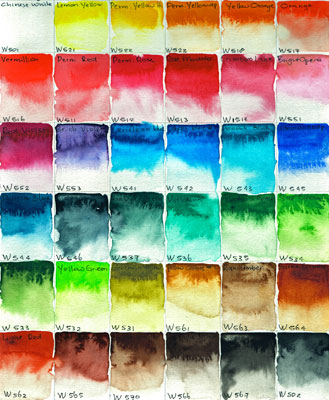 mijello mission gold watercolor color chart by mandy van goeije